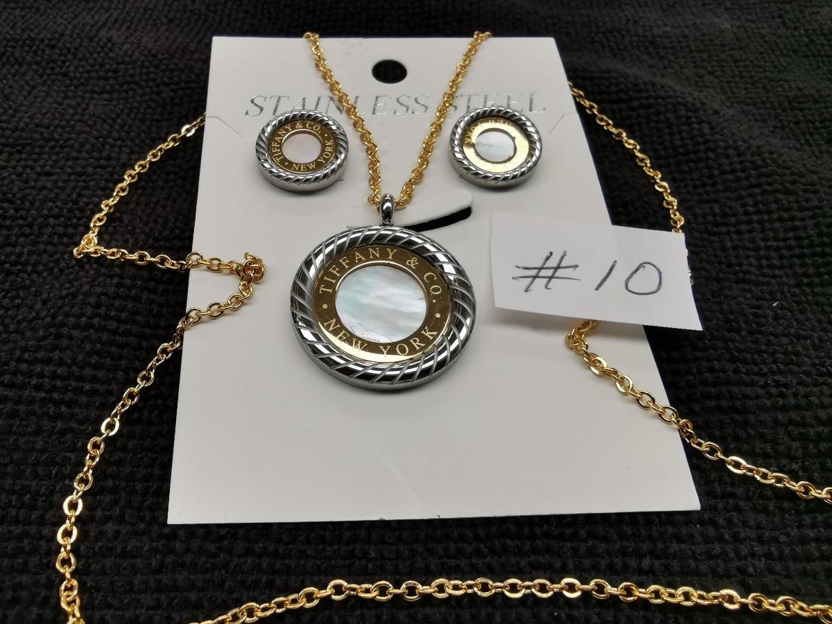 e078c669890e Aretes Y Collar En Acero Laminado En Oro Modelos  9 Al  14 ...