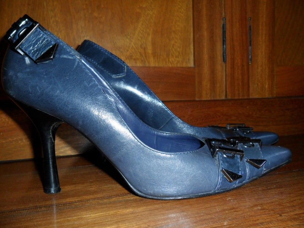 096087714b arezzo - sapato scarpin azul marinho couro tdo forrado 36. Carregando zoom.