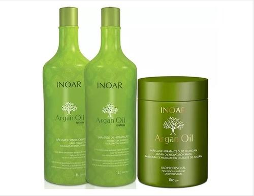 argan oil inoar kit salão litro - shamp + cond + masc 1kg