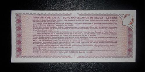 argentina, 1 austral 1987 - salta - (unc)