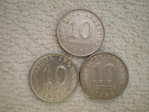 argentina 10 centavos canto liso 1953 1955 1956 km#51 c/u