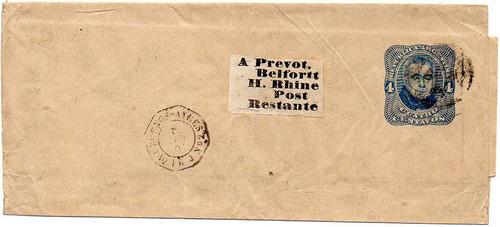 argentina 1881. faja entero a belfort, h. rhine, fcia.
