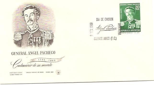 Argentina 1969 Sobre Pde Centenario Del Gral. Pacheco