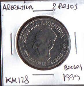 argentina 2 pesos 1999 km 128 100º aniv nacimiento de borges