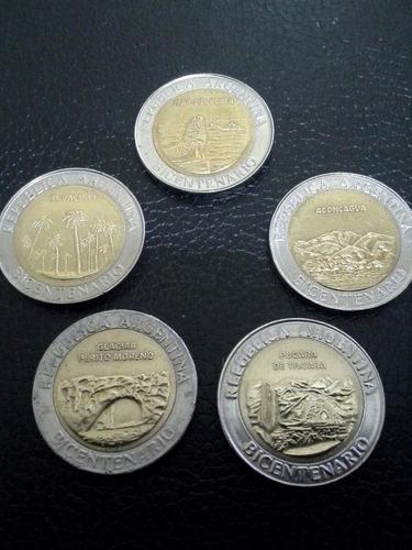 argentina 5 bicentenario $1 año 2010 bimetalicas