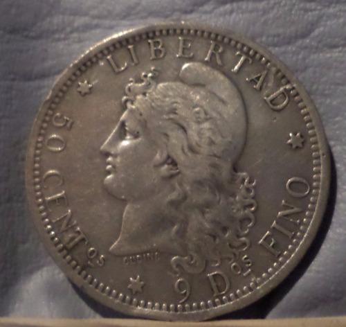 argentina 50 centavos 1882 plata exc