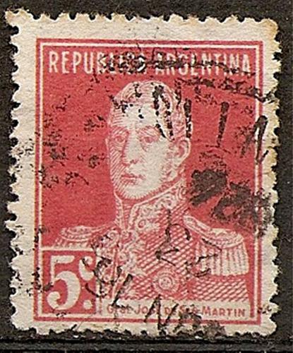 argentina  año1923-4  cat. mt 281 gj 579 usada 13 1/2x