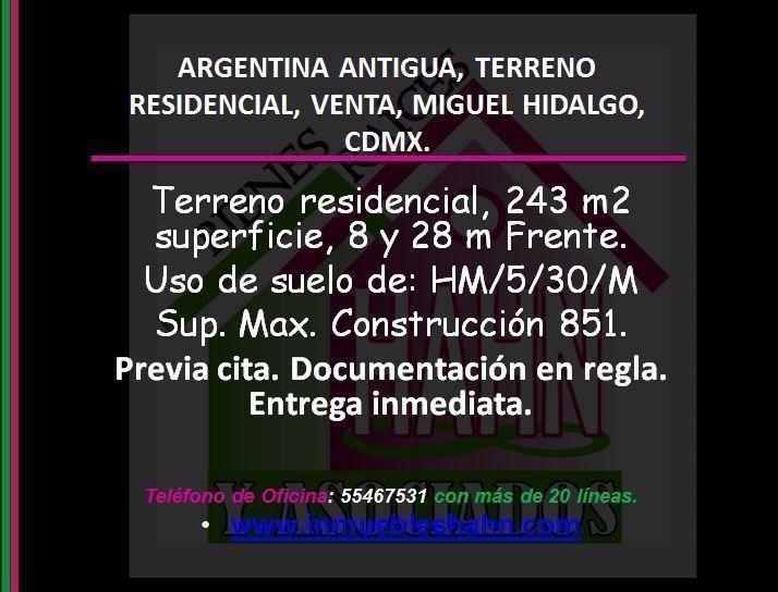 argentina antigua, terreno residencial, venta, miguel hidalgo, cdmx.