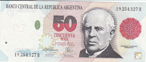 argentina antiguo billete 50 pesos.1993 unc