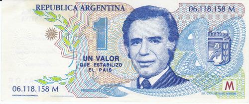 argentina, antiguo billete-propaganda de menem 1989