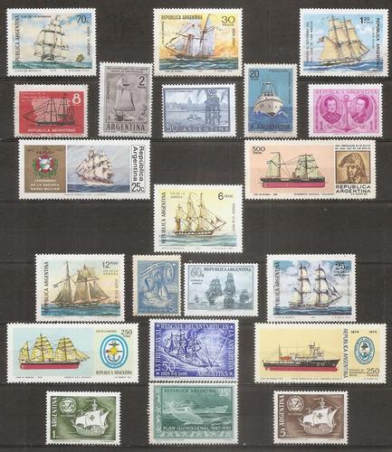 argentina barcos marina 21 sellos nuevos con y sin goma nº7