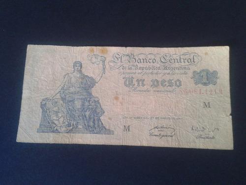argentina billete 1 peso serie m 1947