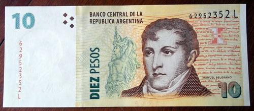 argentina billete 10 pesos serie l sin circular la plata