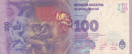 argentina billete 100 pesos evita primer diseño reposicion -