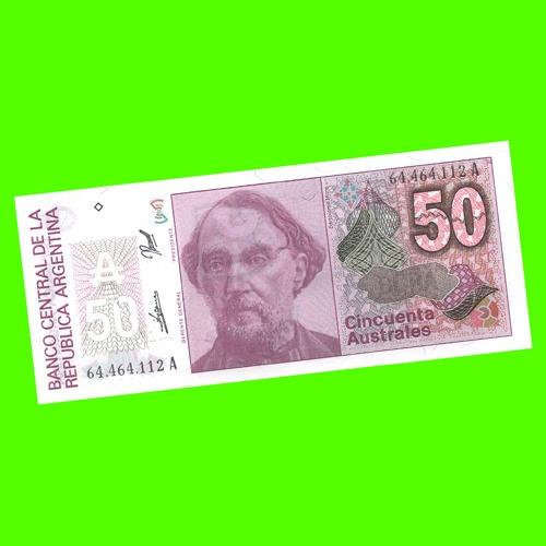 argentina - billete 50 australes 1989  #2834 ¡ sin circ. !