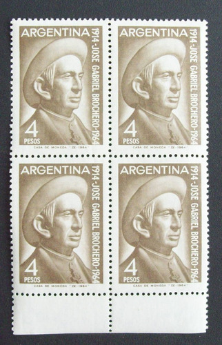 argentina bloque x 4 gj 1277 brochero filig horiz mint l1484