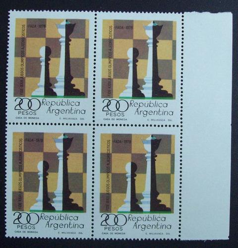 argentina - bloque x 4 sellos gj 1828 ajedrez mint l1167
