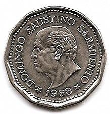 argentina d .f sarmiento moneda acero enchapado,$25 año 1968