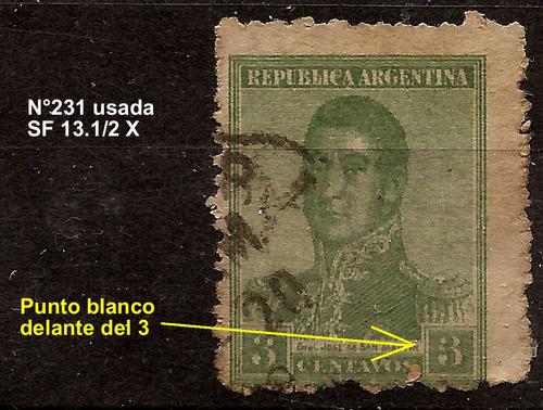 argentina error punto blanco delante 3 mt.normal n°231 usada