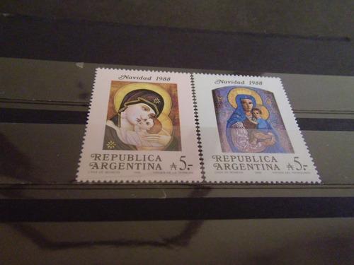 argentina - jalil  2427/2428  mint  navidad 1988