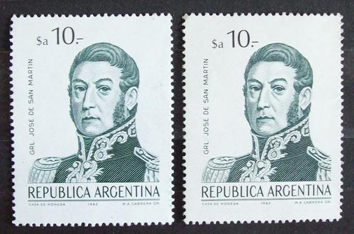 argentina, lote 2 x gj 2146 s martín $a10 papeles mint l3841
