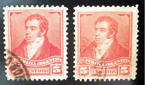 argentina - lote 2 x gj156 rivadavia 5c 12 1-4 colores l4275
