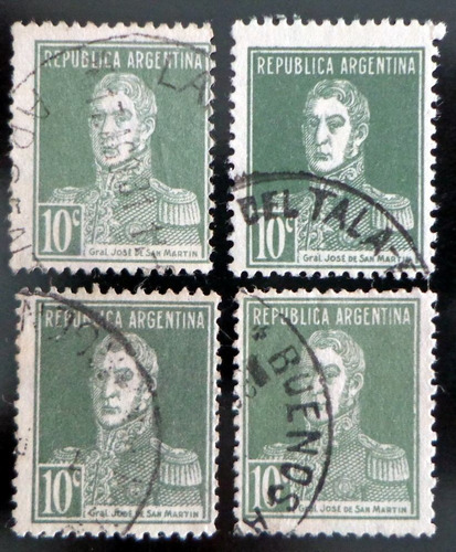 argentina, lote 4 sellos gj 600 s martín 10c. colores l8316