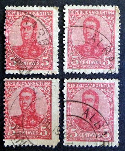 argentina, lote 4 sellos s martín óvalo 5c. albardón l8268