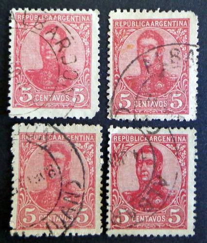 argentina, lote 4 sellos s martín óvalo 5c. albardón l8269