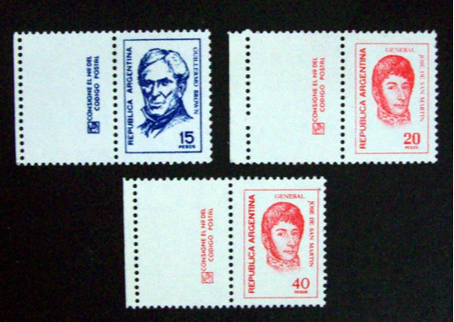 argentina - lote 6 sellos con complemento dif. mint l3126