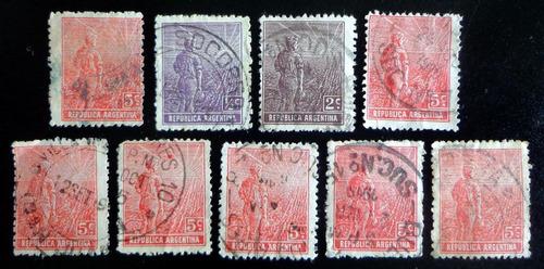 argentina, lote 9 sellos labrador lindos matasellos l8279