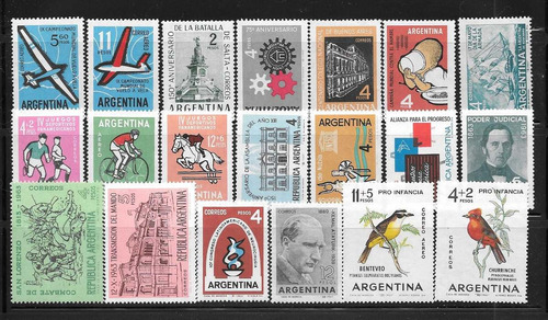 argentina ofertonnnn año 1963 completo x 20 sellos mint
