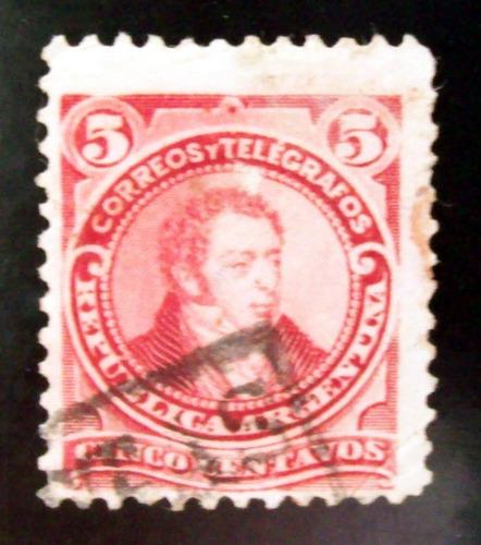 argentina - sello gj 106 rivadavia 5c chico matasello l4198
