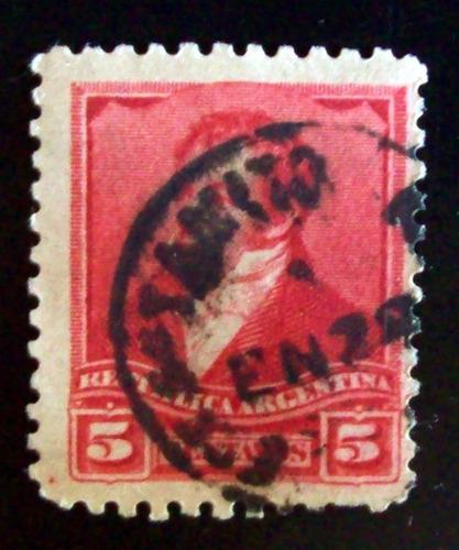 argentina sello gj 141 rivadavia 5c sol chico retamito l4281