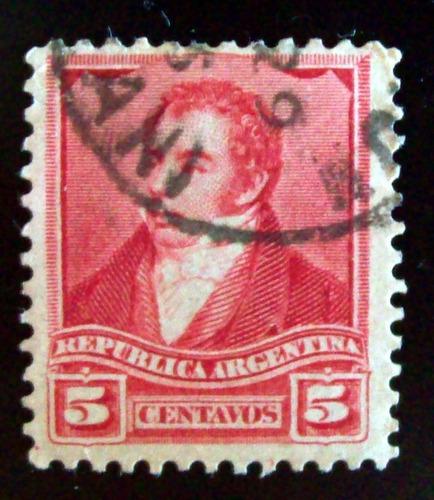 argentina - sello gj 156 rivadavia 5c 12 1-4 albardón l4269