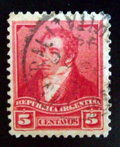 argentina - sello gj 156 rivadavia 5c 12 1-4 c central l4270