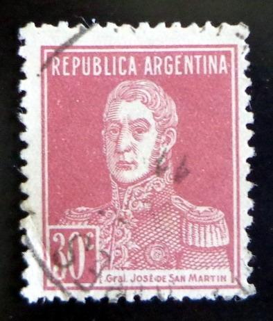 argentina sello gj 619 s martín 30c papel rayado usado l8325