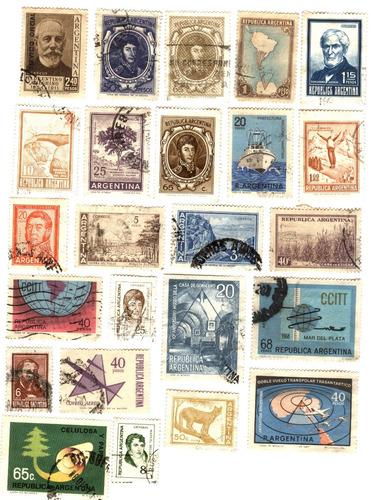 argentina y ecuador  29 timbres postales usados años 60/70