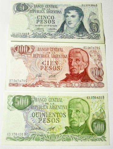 argentina:lote 3 billetes pesos ley 18188 sin circular!!