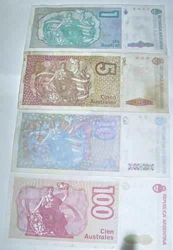 argentina:lote 4 billetes de 1/5/10/100 australes sin circul