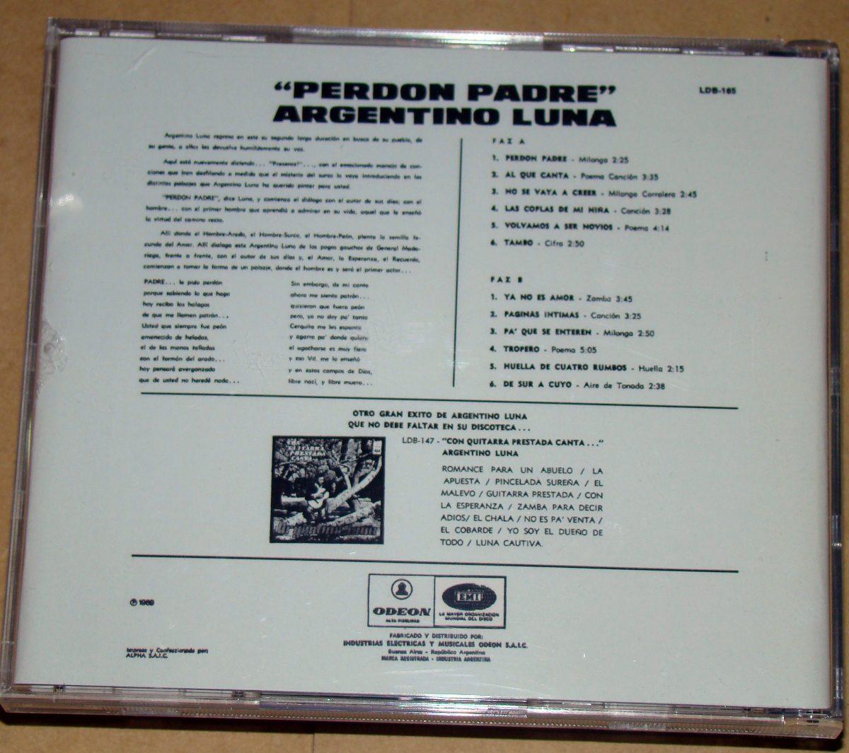 Argentino Luna Perdon Padre Cd Bajado De Lp 72888