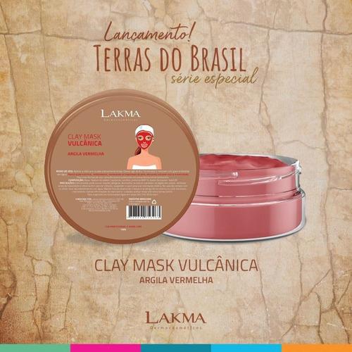argila vermelha máscara clay mask vulcânica 150g lakma