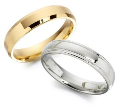 argolla de matrimonio oro blanco y amarillo 14 kt c/u am019