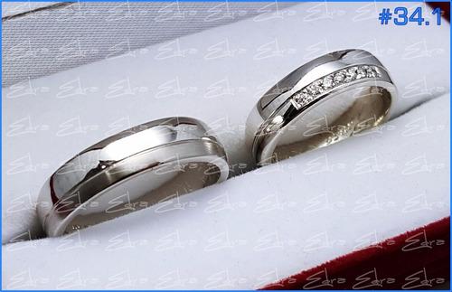 argolla matrimonio o compromiso en plata 950+zircon c/u