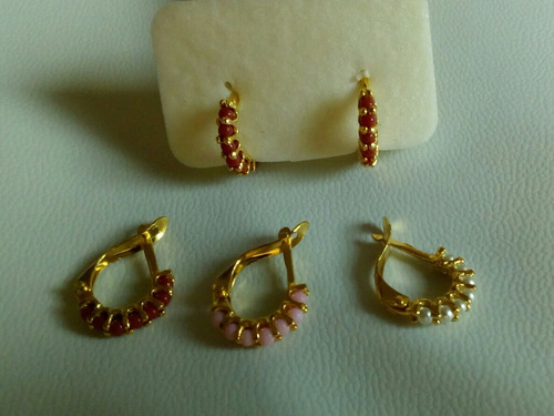 argollas coral plata baño de oro 18k niñas regalos zarcillos