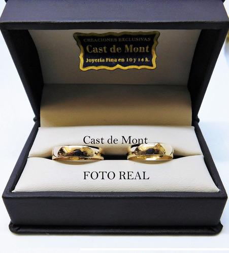 argollas de matrimonio 4mm par anillos boda amarillo 10k