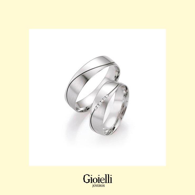 4a2525aa3b79 Argollas De Matrimonio En Oro Blanco 18k Con Diamantes -   2.649.000 en  Mercado Libre