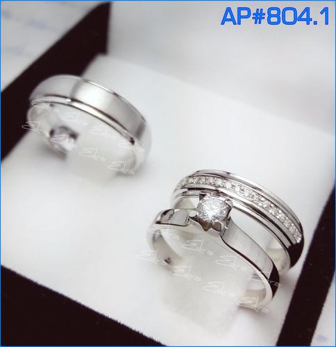 argollas matrimonio anillo compromiso plata 950 rodio