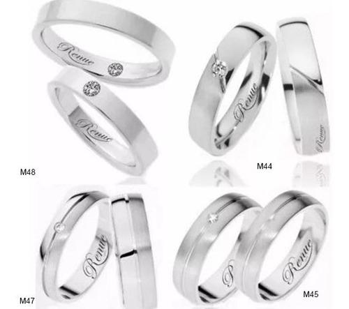 argollas matrimonio compromiso  plata .950 efecto oro blanco