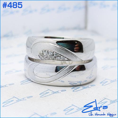 argollas matrimonio o compromiso plata ley 950 y rodio par